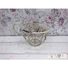 Blumenkorb klein Kaffeetasse Teetasse Weiß Shabby Vintage