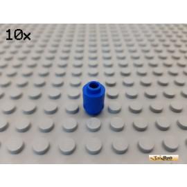 LEGO® 10Stk Stein 1x1 rund mit geöffneter Noppe blau 3062