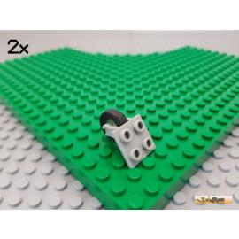 LEGO® 2Stk Platte / Achsplatte 2x2 mit Reifen alt-hellgrau 2415