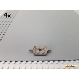 LEGO® 4Stk Platte 2x2 modifiziert mit 2 Pins / Achsplatte alt-dunkelgrau 6157