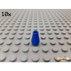 LEGO® 10Stk Stein 1x1 rund mit Kegel blau 4589