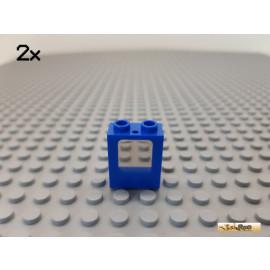 LEGO® 2Stk Fensterrahmen / Fenster blau mit Glas transparent schwarz 1x2x2 2377