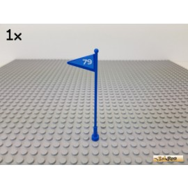 LEGO® 1Stk System Fahne mit Mast beklebt Nr. 79 blau