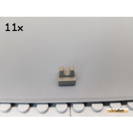 LEGO® 11Stk Platte 1x1 modifiziert mit Clip oben alt-dunkelgrau 2555