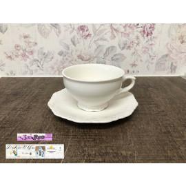 Chic Antique Teetasse Tasse mit Untertasse Porzellan weiß Provence