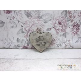 Deko Herz mit Blume zum hängen Metall Shabby Fensterdeko Vintage