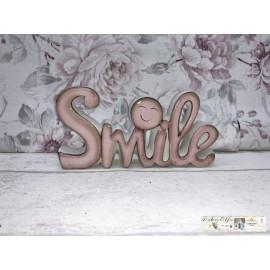 Dekoration Schriftzug Smile Shabby rosa Keramik Vintage Nostalgisch