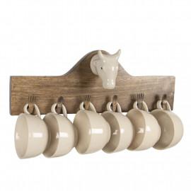 Clayre & Eef Wandregal mit Tassen für die Küche Wandaufbewahrung Holz 64537