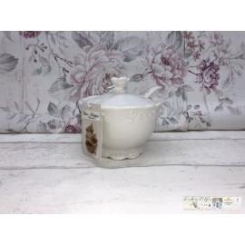 Chic Antique Zuckerdose mit Löffel  Provence Porzellan Zuckerbox 63100-01