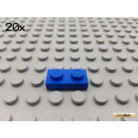 LEGO® 20Stk Platte Basic 1x2 blau 3023