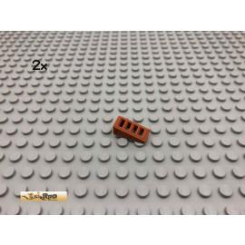 LEGO® 2Stk 1x2 Gitter Dachstein, Schrägstein Dunkelorange, Braun Orange 61409 38