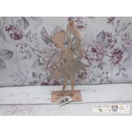 Deko Elfe mit Gießkanne Rosa Metall Shabby Vintage