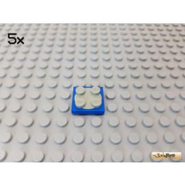 LEGO® 5Stk Platte 2x2 blau mit Drehscheibe hellgrau 3680