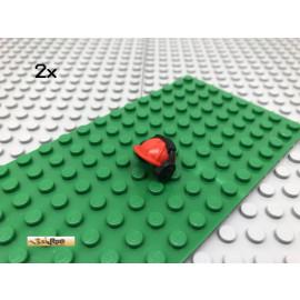 LEGO® 2Stk Bauarbeiter Helm mit Kopfhörer Rot Red 18899
