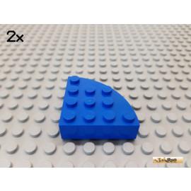 LEGO® 2Stk Stein rund / Viertelkreis 4x4 blau 2577