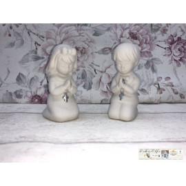 Gilde Betende Kinder Junge Mädchen mit Kreuz Weihnachtsdekoration Keramik