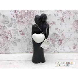 """Gilde Sculpture """"Verstecktes Herz"""" braun, mit weißem Herz"""