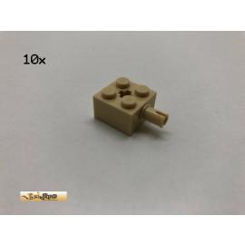 LEGO® 10Stk 2x2x1 Pin und Kreuz Achsloch Brick Beige, Tan 6232 ce