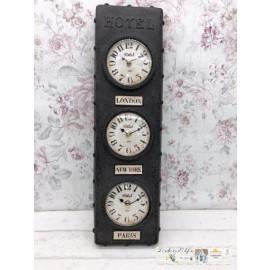Clayre & Eef Uhr London New York Paris Vintage Shabby Clock