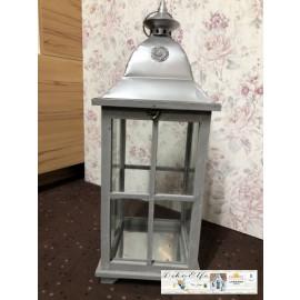 Gilde Laterne in Grau/Silber Windlicht Dekoration Shabby Vintage Landhaus