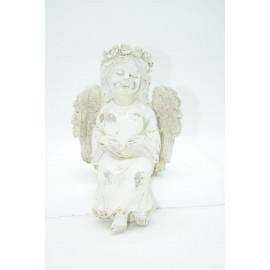 Engel Schutzengel Kantensitzer im Shabby Look mit Herz Vintage Figur