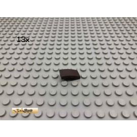 LEGO® 13Stk 1x2 Bogenstein schräg Dunkelbraun, Dark Brown 11477 22