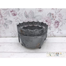 Pflanzen schale Metall Vintage Shabby chic Landhaus Blumentopf