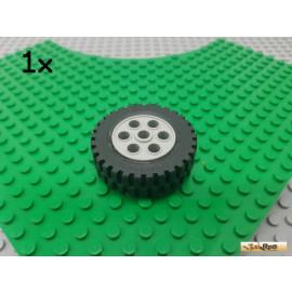 LEGO® 1Stk Reifen / Gummi mit Felge hellgrau 13x24