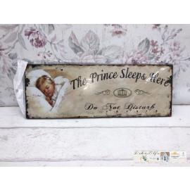 Blechschild The Prince sleeps Here Kinderzimmer Junge Vintage
