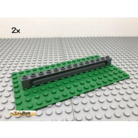 LEGO® 2Stk 1x14 Stein mit Nut Führungsschiene Dunkel Grau, Dark Gray 4217