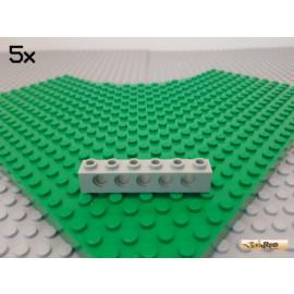 LEGO® 5Stk Technic Lochstein / Lochbalken 1x6 alt-hellgrau 3894
