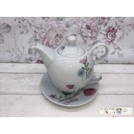 Gilde Bella Vita Tea for One Kanne Tasse Untersetzer Blumen verziert