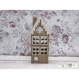 Gilde Weihnachtliches Haus klein Holz runde Fenster Tischdekoration