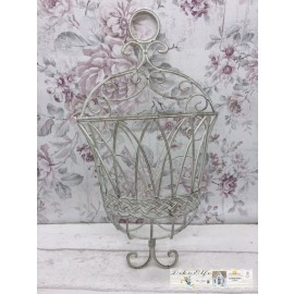 Blumenkorb zum Hängen Shabby Vintage Metall Gitterkorb Garten
