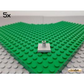 LEGO® 5Stk Platte / Fliese 2x2 mit Pin alt-hellgrau 2460
