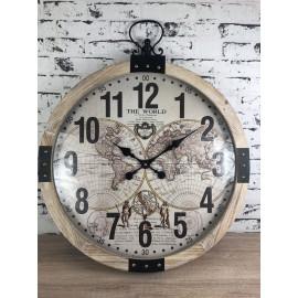 Wanduhr Uhr Taschenuhr Shabby Look Weltkarte Globus Antik Durchmesser 60cm
