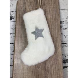 Gilde Weihnachtsstrumpf Weiß mit Stern Wanddekoration weihnachtlich