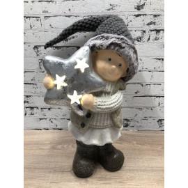 Skulptur weihnachtlich Winterkind mit Stern Beleuchtet Figur