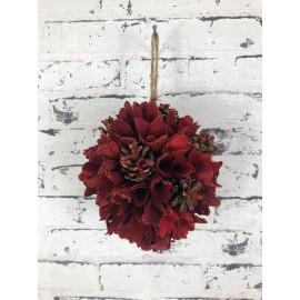 Dekokugel zum Hängen in Rot Glitzer Fensterdekoration weihnachtlich
