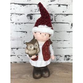 Skulptur weihnachtlich Winterkind klein mit Eule und Mütze Figur