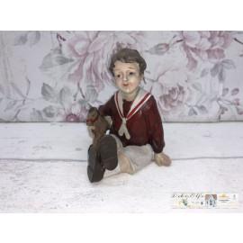 Deko Figur Kind mit Spielzeug Pferd Shabby Vintage Landhaus
