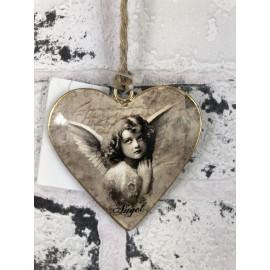 Deko Herz zum hängen Metall Engel Schutzengel Wanddekoration Vintage