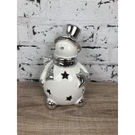 Weihnachtlicher Teelichthalter Schneemann Figur Keramik moderner Stil