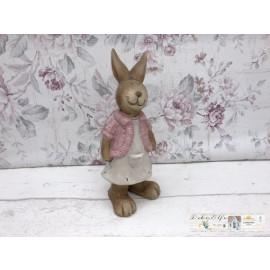 Deko Osterhase mit rosa Weste und Kleid Hase Ostern