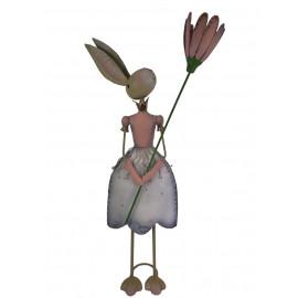 Posiwio Osterhase Hase Osterdekoration Kaninchen mit Blume Metall