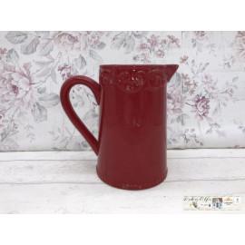 Deko Blumentopf Kanne Krug Vase Blumenvase Shabby Vintage rot