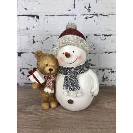 Schneemann mit Teddy weihnachtlich Bär mit Geschenke Weihnachtsdekoration