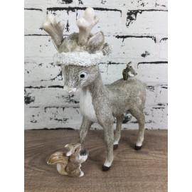Weihnachtsdekoration Rentier mit Mütze Vogel Eichhörnchen Figur Skulptur