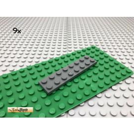LEGO® 9Stk 2x8 Platte flach Plate Basic Dunkel Grau, Dark Gray 3034