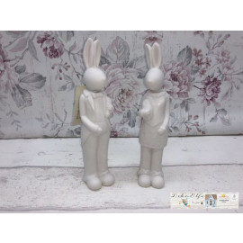 Clayre & Eef Deko Osterhasen Paar Weiß schlicht zeitlos